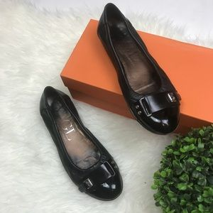 AGL Black Ballet Side Buckle Toe Cap Leather Flats